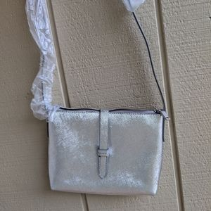 Crew Crossbody metallic silver zip top bag